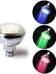 ABS Temperature Sensor 3 Colors Changing LED Light Shower Head Sprinkler Glow for Home Bathroom(Random Color)