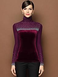 Women's High Neck Dianmonade Beads Slim Shirts