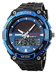 SKMEI® Men's Solar Powered Multifunctional Dual Time Zones Rubber Band Sporty Wrist Watch Cool Watch Unique Watch
