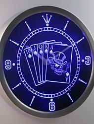 nc0379 Royal Flush Casino Skull Poker Game Room Neon Sign LED Wall Clock