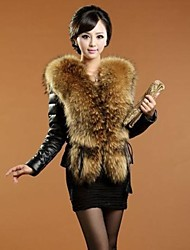 Women's Fashion Big Fur Collar Imitation Fur Warm Coat