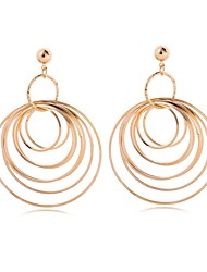 Women's  Fashion Wild Plated Rhodium Multiple Circular Enthusiastic Earrings