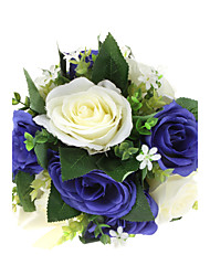 Royal Blue And Pure White Polyester Rose Wedding Bridal Bouquet
