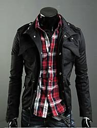 moda manga longa casaco casual dos homens tero