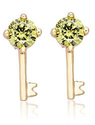 Dang Dang New Fashion Korean Style Key Design Cute Earrings Gold Plating 18K  Zircon Earrings ERZ0282