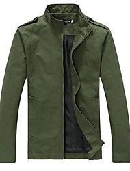 Men's Regular Parka Coat , Cotton Blend Pure Long Sleeve