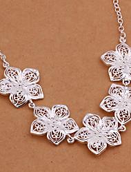 Lucky doll Women's 925 Silvering Flower Necklace