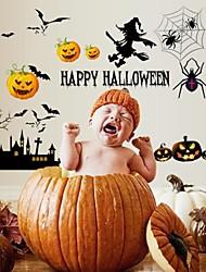 Halloween sorcière noire et citrouille elfes stickers muraux