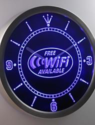 nc0345 wi-fi disponible signe de néon led horloge murale