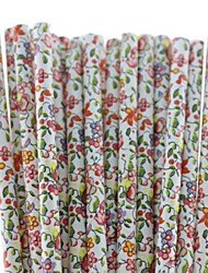 Beautiful Flower Paper Drinking Straws (25 PCS)