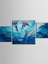 Hand Painted Oil Painting Floral Morning Glory Canvas Art with Stretched Frame Set of 3