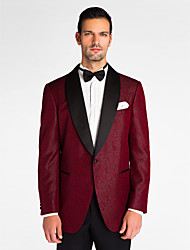 Red Polyester Tailored Fit Jacket