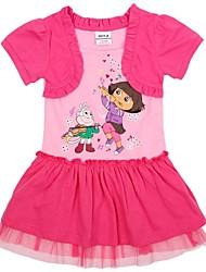 vestidos de algodón de encaje princesa de manga corta de dibujos animados para niños de impresión al azar