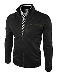 Men's Stand collar Transverse Zipper Slim Leather