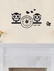 zooyoo® DIY с двумя совы цветной электронный батареи хронометрист настенные часы настенные наклейки домашнего декора для комнаты