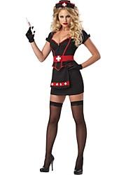 estilo vampiro de poliéster preto uniforme enfermeira sexy