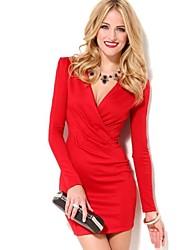 vrouwen diepe v / koorhemd hals mini jurk, katoen / anderen rood / wit sexy / bodycon / casual / leuke / partij / werk