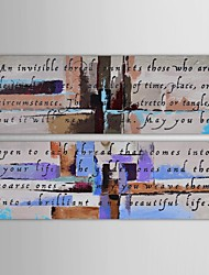 Hand Painted Oil Painting Abstract Words Arts for Sale  with Stretched Frame Set of 2