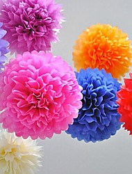 10 PCS 4 Inch Tissue Paper  Crafts Pom Poms Flower Party Decoration (Assorted Color)
