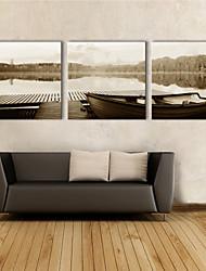 Stretched Canvas Art Landscape Lake Boat Set of 3