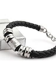 herenmode persoonlijkheid titanium staal lederen gevlochten klaver design armbanden