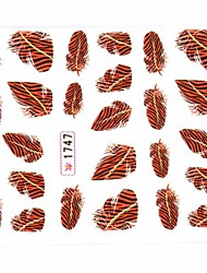 Water Transfer Print Nail Art Stickers Decals Feather Pattern For  False Acrylic Nail Tips Design Nail Art