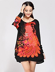 Women's Sexy Cute Long Pullover,Floral Orange Long Sleeve Others All Seasons Medium Stretchy