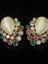 Women's Rhinestone Opal  Earrings