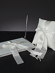 """Tied with a Bow"" Wedding Collection Set In White Satin (3 Pieces)"