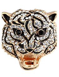 Tiger Pattern Metal With Full Artificial Diamond Adjustable Rings (1Pc)