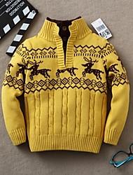 Boy's Fashion Joker Fawn Pattern Knitting Coat