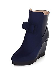 Women's Shoes Pointed Toe Wedge Heel Flocking Ankle Boots with Bowknot More Colors available