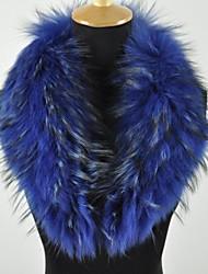 Women's Trendy Real Genuine Raccoon Fur Collar Scarf Wrap