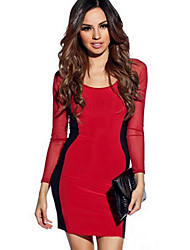 Mengna Women's Long Sleeve Fitted Sexy Dress