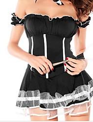 sexy girl spandex uniforme preto serva