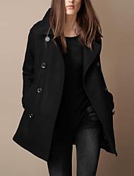 Z.Y.P Women's New Western Temperament Slim Lapel Double-breasted Woolen Coat