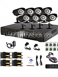 8 ch sistema de home e office DVR CCTV (p2p on-line, 8 câmera ao ar livre)