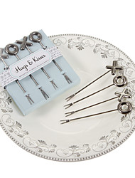 Silver X&O Design Fruit Fork-Set Of 4