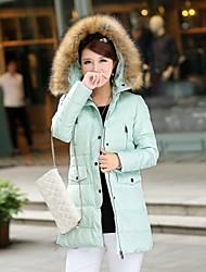 occasionnel mince raton laveur épaisseur mince de hoodie de fourrure long manteau bas de yinqian®women