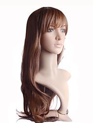sin tapa larga de alta calidad de color marrón sintéticas pelucas sexy rectas calientan fibra resistente