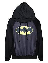 algodão das mulheres pinkqueen® o batman logotipo de impressão com capuz preto