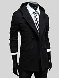 sólida casaco cor moletom com capuz vento dos homens (preto, cáqui, creme, azul marinho)