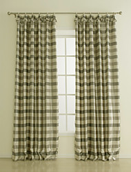 TWOPAGES® Two Panels  Print Plaid Polyester Room Darkening Curtain