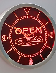 nc0329 OPEN Pizza Shop Neon Sign LED Wall Clock