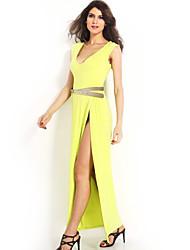 Women's Beach Sheath Dress,Solid Deep V Maxi Sleeveless Yellow All Seasons
