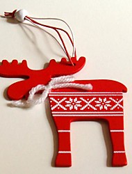 Christmas Hanging Decoratives Red Deer Shape 1 PC MDF Materiels for Christmas Decorations