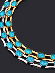 New High Quality Turquoise Stone Necklace Chain 18K Gold Platinum Plated Jewelry Gift for Women 48CM