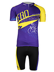 MOON Men's New Zero Action Anti-UV Breathable Polyester Lycra Short Sleeved Cycling Suit - Yellow+Blue