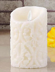 Romantic Emulational Embossed Satin Paraffinic LED Electronic Candle