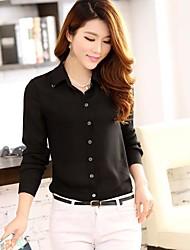 à manches longues t-shirt de couleur pure coréen de mode de revers de ozl®women